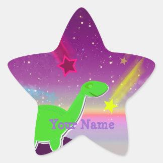 Etiqueta das estrelas de queda do dinossauro dos adesivo em forma de estrela
