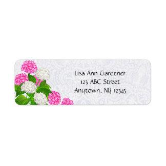 Etiqueta das flores do Hydrangea do laço Etiqueta Endereço De Retorno