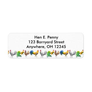 Etiqueta das galinhas do Barnyard