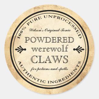 Etiqueta das garras do homem-lobo do apothecary do