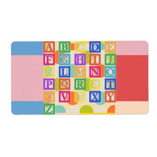Etiqueta das letras de bloco