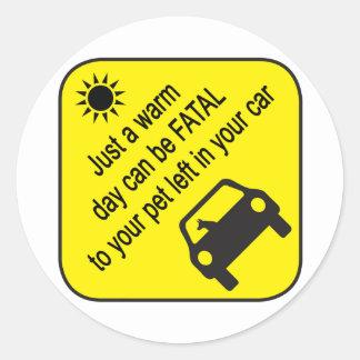 Etiqueta de advertência do calor do carro do adesivo redondo