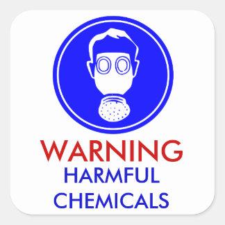 Etiqueta de advertência dos produtos químicos adesivos quadrados
