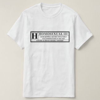 Etiqueta de advertência homossexual camiseta