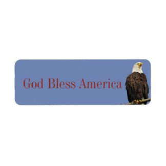 Etiqueta de América dos deus abençoe com águia