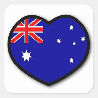 Etiqueta de Austrália do coração Adesivo Quadrado