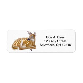 Etiqueta de Avery da jovem corça dos cervos