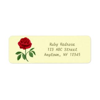 Etiqueta de Avery da rosa vermelha do rubi Etiqueta Endereço De Retorno