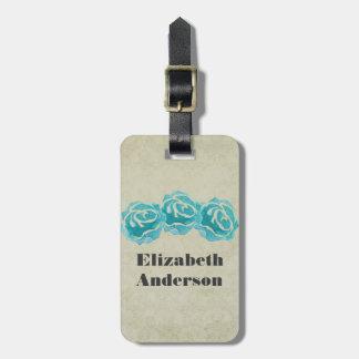 Etiqueta De Bagagem 3 rosas da aguarela da cerceta na cor damasco de