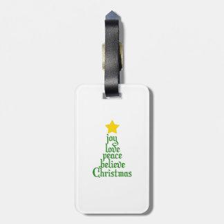 Etiqueta De Bagagem A alegria, amor, paz, acredita, Natal