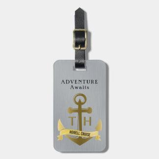 Etiqueta De Bagagem A aventura espera férias náuticas do cruzeiro da