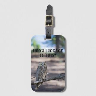 Etiqueta De Bagagem A bagagem de Hoo? Grande coruja Horned