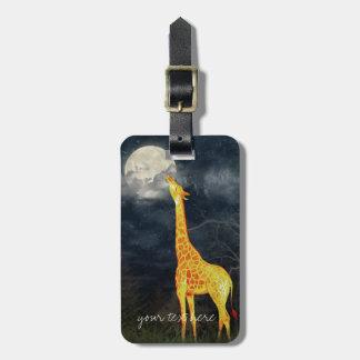 Etiqueta De Bagagem A bagagem feita sob encomenda do girafa e da lua