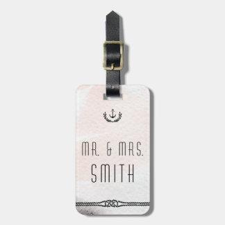Etiqueta De Bagagem A bagagem náutica do casamento etiqueta o pêssego