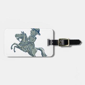 Etiqueta De Bagagem A cavalaria americana comanda o carro Prancing do