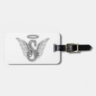 Etiqueta De Bagagem A letra inicial do alfabeto S do anjo voa o halo