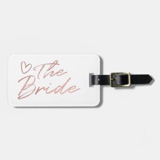 Etiqueta De Bagagem A noiva - o falso cor-de-rosa do ouro foil o Tag