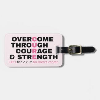 Etiqueta De Bagagem A tipografia do rosa das citações do cancer