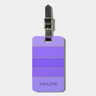 Etiqueta De Bagagem A violeta personalizada da guarnição do ouro