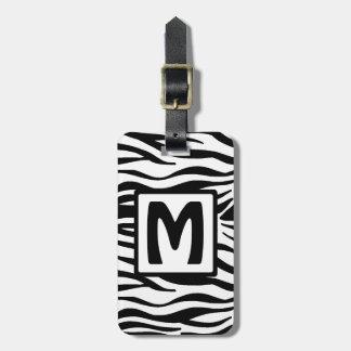 Etiqueta De Bagagem A zebra preta esquadrou o monograma