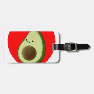 Etiqueta De Bagagem Abacate bonito no coração vermelho