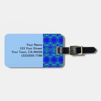 Etiqueta De Bagagem Abstrato brilhante do laço do verde azul