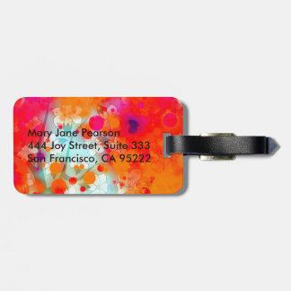 Etiqueta De Bagagem Abstrato floral sonhador da cerceta alaranjada