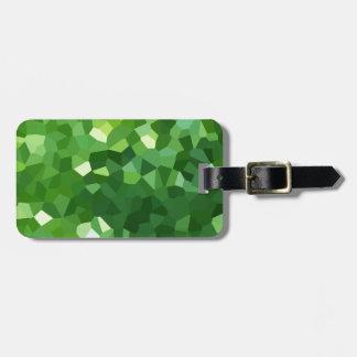 Etiqueta De Bagagem Abstrato verde do mosaico do vitral da forma do