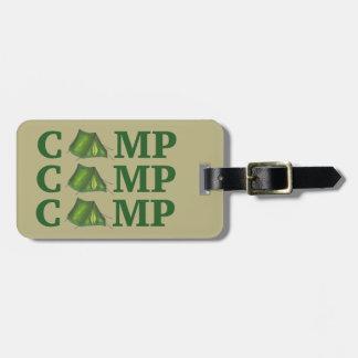 Etiqueta De Bagagem Acampamento de verão verde da barraca do