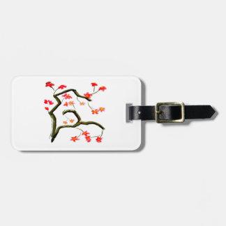 Etiqueta De Bagagem Acento vermelho das flores de cerejeira