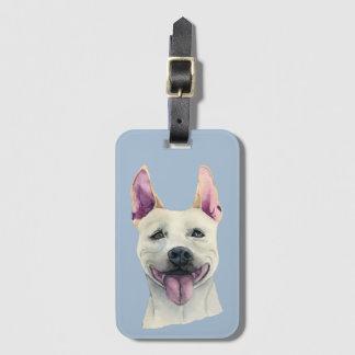 Etiqueta De Bagagem Aguarela branca do cão de Staffordshire bull