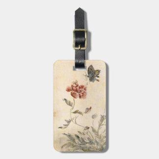 Etiqueta De Bagagem Aguarela da abelha, da borboleta e da papoila do