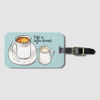 Etiqueta De Bagagem Aguarela da ruptura de café e ilustração da tinta