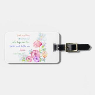 Etiqueta De Bagagem Aguarela floral personalizada do verso da bíblia