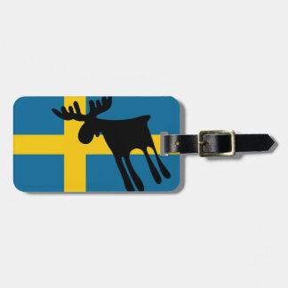 Etiqueta De Bagagem Älg / Moose med Svenska flaggan