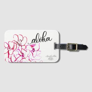 Etiqueta De Bagagem Aloha Tag brilhante da bagagem da flor da orquídea