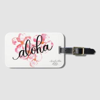 Etiqueta De Bagagem Aloha Tag brilhante da bagagem da flor do Plumeria
