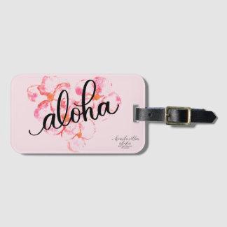 Etiqueta De Bagagem Aloha Tag cor-de-rosa brilhante da bagagem da flor