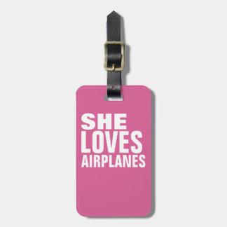 Etiqueta De Bagagem ama aviões, rosa