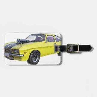 Etiqueta De Bagagem Amarelo do carro de 1970 músculos com listra preta