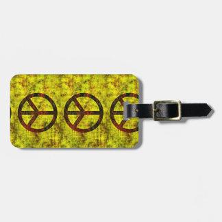 Etiqueta De Bagagem amarelo groovy do símbolo de paz dos anos 70 do