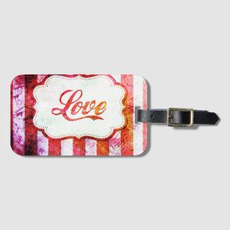 Etiqueta De Bagagem Amor cor-de-rosa com listras