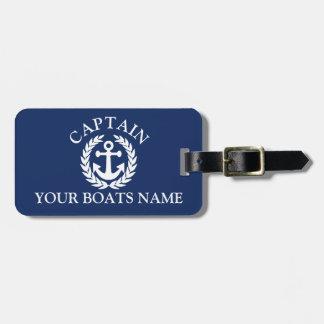 Etiqueta De Bagagem Âncora náutica dos navios do capitão do barco