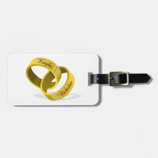 Etiqueta De Bagagem Anéis - nomes & data feitos sob encomenda gravados