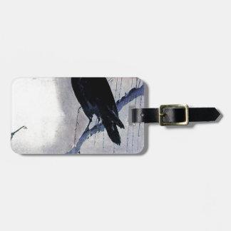 Etiqueta De Bagagem Antiguidade preta do pássaro do corvo