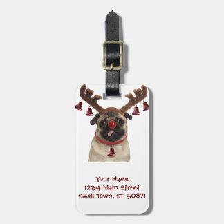 Etiqueta De Bagagem Antlers do Pug - pug do Natal - Feliz Natal