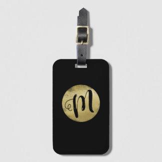 Etiqueta De Bagagem apenas um monograma simples do ouro do falso no