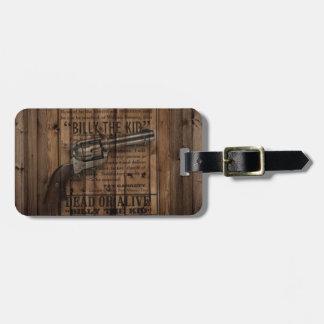 Etiqueta De Bagagem arma dupla rústica do país ocidental do vaqueiro