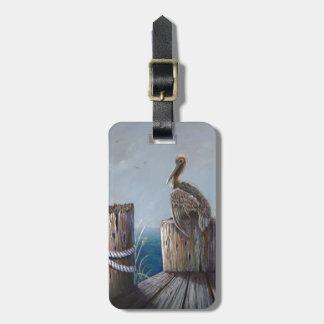 Etiqueta De Bagagem Arte acrílica do oceano do pelicano de Brown da