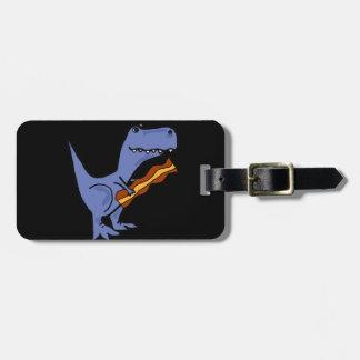 Etiqueta De Bagagem Arte azul engraçada do bacon comer do dinossauro